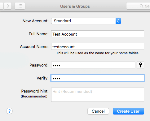 Enter New User Account Name and Password on Mac