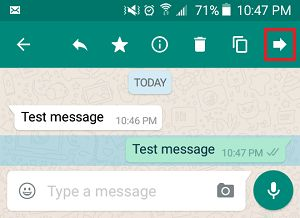 Forward WhatsApp Message on Android Phone