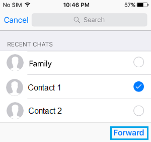 Forward Whatsapp Message to Multiple Contacts on iPhone