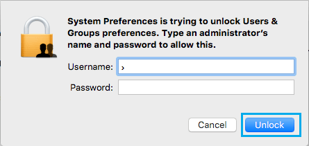 Login to Admin Acount Pop Up on Mac
