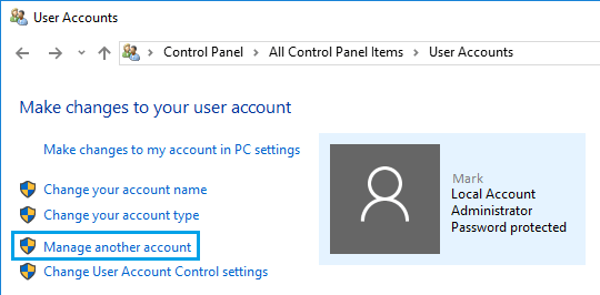 Manage Another Account Option in Windows 10
