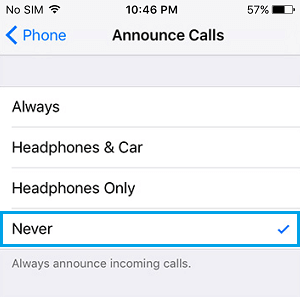 Never Announce Calls on iPhone