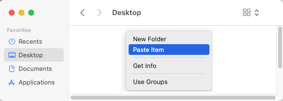 Paste Item to Desktop