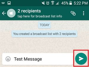 Send Message to Multiple Contacts on WhatsApp Broadcast List on Android Phone