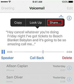 Option to Share Voicemail Transcription On iPhone