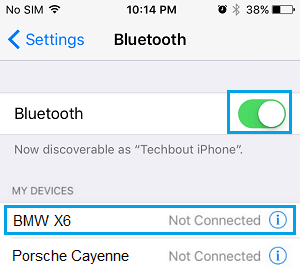 Turn on Bluetooth on iPhone