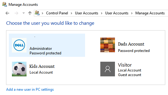 Manage User Accounts Screen in Windows 10