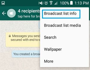 WhatsApp Broadcast List Info Option on Android Phone