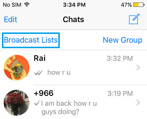 Broadcast List Tap on WhatsApp iPhone