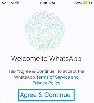 Agree and Continue to WhatsApp Terms on iPhone