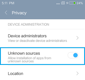 Allow Installation From Unknown Sources on Xiaomi Phone