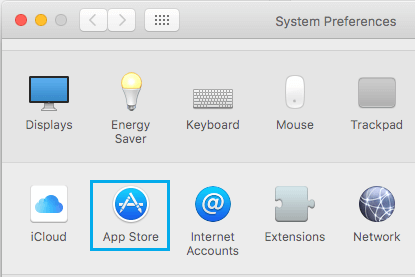 App Store Option on System Preferences Screen On Mac