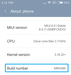 Build Number Tab on Android Phone