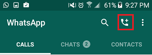 Call Icon in WhatsApp on Android