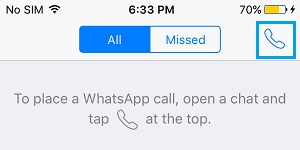 Call Icon WhatsApp on iPhone