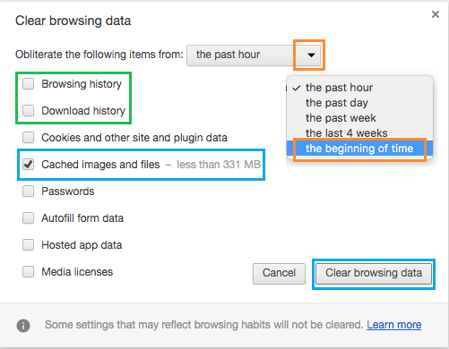 Clear Browser Cache Period From Option In Google Chrome