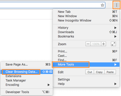 Clear Browsing Data option in Chrome Browser