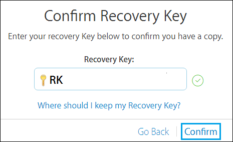 Confirm Apple ID Recovery Key
