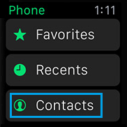 Contacts Tab in Phone App on Apple Watch