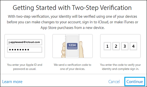 Continue Setting Up Two Step Verification for Apple ID