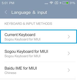 Current Keyboard on Xiaomi Phone
