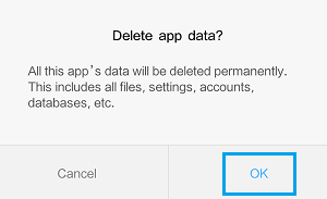 Delete App Data Pop-up on Android Phone