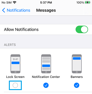 Disable Message Alerts on iPhone Lock Screen