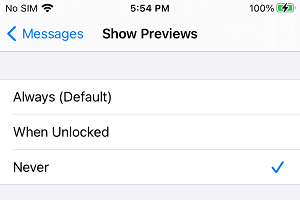 Disable Message Previews on iPhone Lock Screen