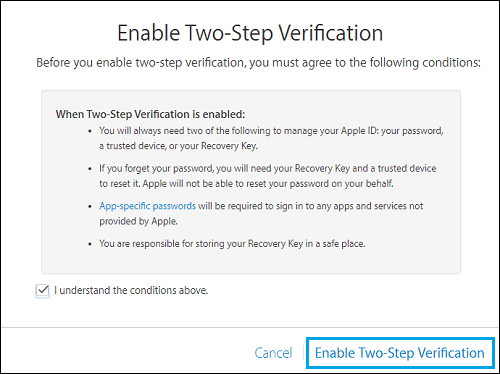 Enable Two Step Verification Link
