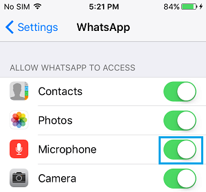 Enable WhatsApp Access to Microphone on iPhone