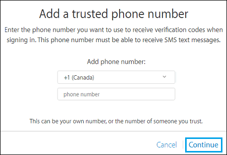 Enter Phone Number for Two Step Verification
