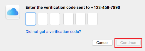 Enter Verification Code for Two Factor Authentication on Mac