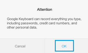 Google Keyboard Attention Pop-up