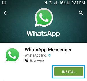 Install WhatsApp Messenger on Android Phone