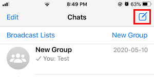 Open New WhatsApp Chat on iPhone