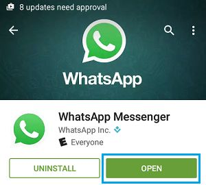 Open WhatsApp on Android Phone