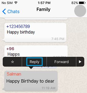 Reply To Individual Message Option on WhatsApp iPhone