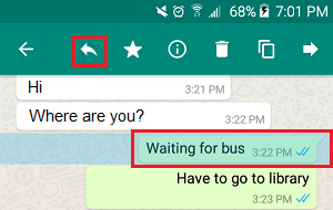 Reply To Message Option On WhatsApp Android Phone