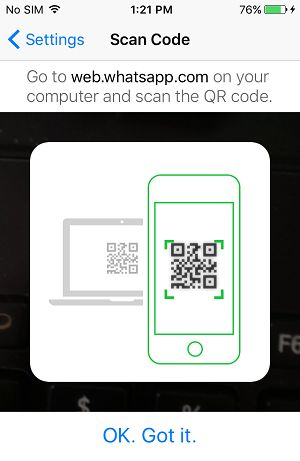 Scan WhatsApp QR Code Option on iPhone