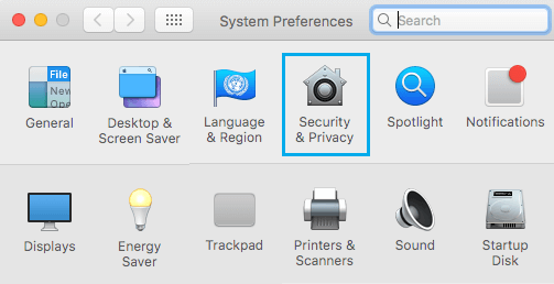 Security and Privacy Tab on Mac System Preferences Screen