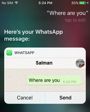 Image result for whatsapp using siri