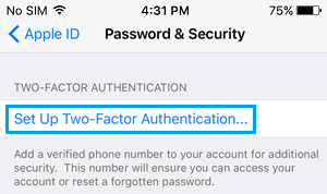 Setup Two Factor Authentication on iPhone
