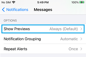 Show Previews Settings Option in Messages App