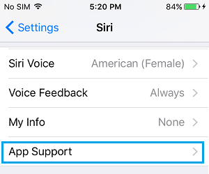 Siri App Support Option on iPhone