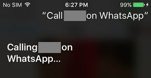 Siri Placing WhatsApp Call on iPhone