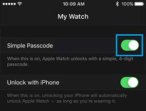 Turn Off Simple Passcode on Apple Watch