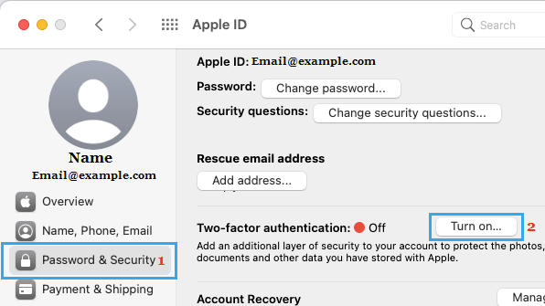 Turn ON Two Factor Authentication on Mac