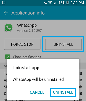 Uninstall WhatsApp From Android Phone