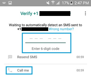 Enter Verification Code to Verify WhatsApp