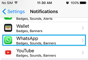 WhatsApp on Notifications Screen on iPhone